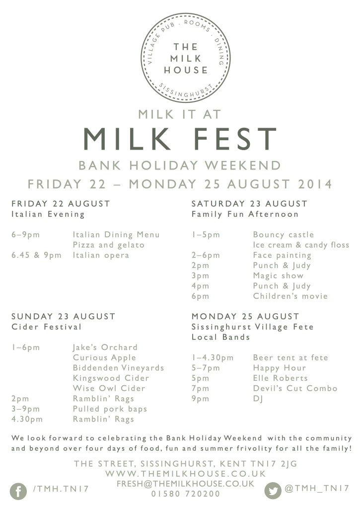 Milk Fest Schedule